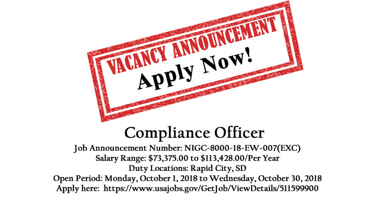 NIGC Employment Opportunity: Compliance Officer (Rapid City)
