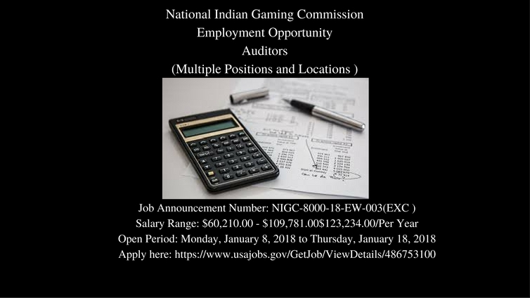 NIGC Employment Opportunity: Auditors