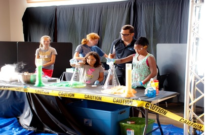 Students at the Rock'n the Rez Summer Camp participating in science experiments.