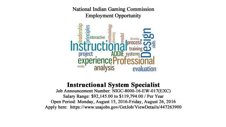 NIGC Employment Opportunity: Instructional System Specialist