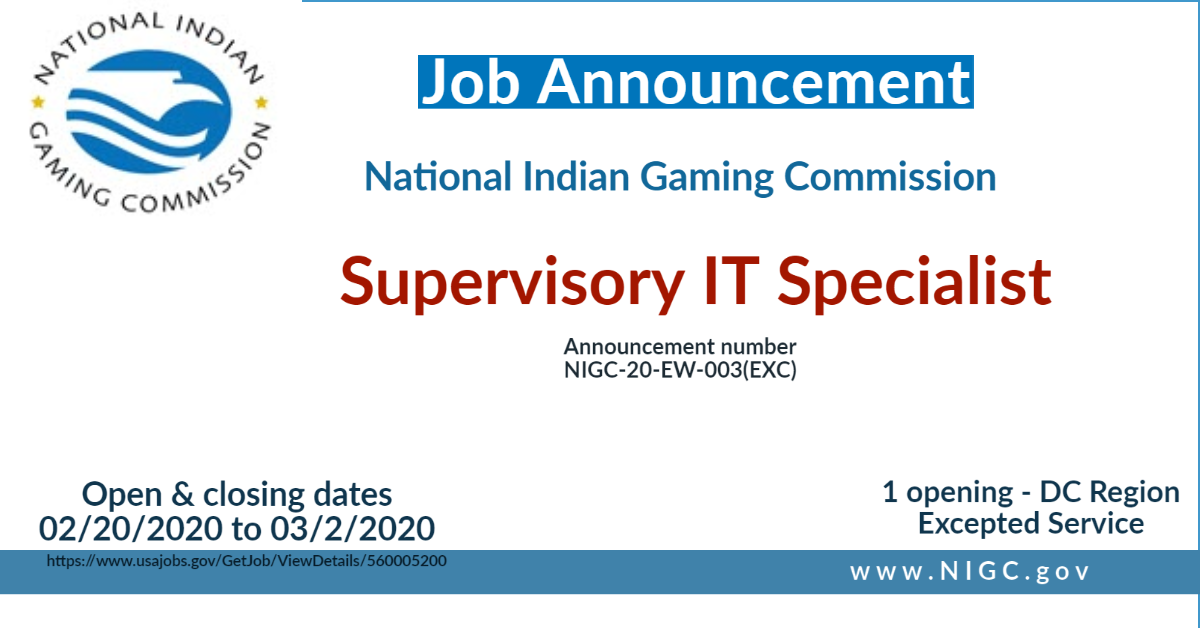 NIGC Employment Opportunity: Supervisory IT Specialist, Chief Security Information Officer (CISIO)