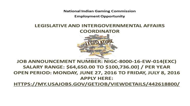 NIGC Employment Opportunity: Legislative and Intergovernmental Affairs Coordinator