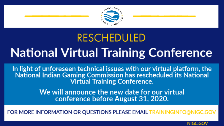 RESCHEDULED: NIGC's National Virtual Training Conference (NVTC)