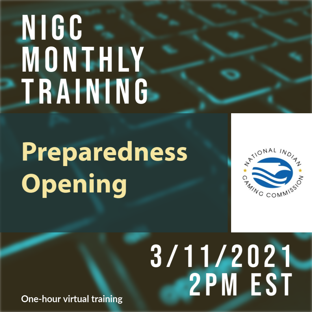 NIGC Monthly Training: Preparedness Opening